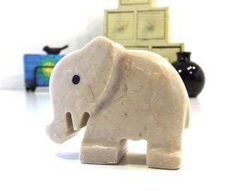 ecru. marble elephant. vintage figurine. white elephant. elephant safari. elephant jungle. tribal home decor. carved stone. rock figurine