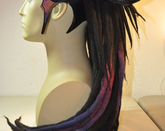 "Horned Headdress w/ Dreads. Black ""Twilight"" Wool and leather headdress. mixed media. tribal festival wear. fantasy. Parkers and Quinn"