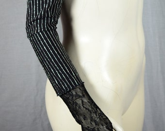Black & Silver Spandex Stripes and Mesh Long Gloves
