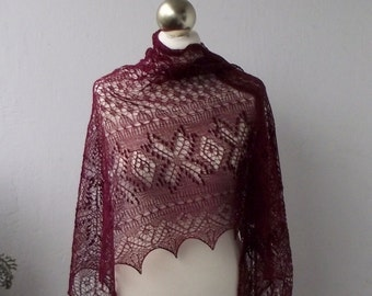 Burgundy  hand knitted lace shawl with  nupps, SPRING SALE 25% OFF