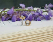 Wedding Prom Rhinestone Gold Tone plugs Gauges 6g 8g 10g t215