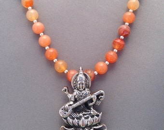 Saraswati Goddess of Art & Music with moonstone and carnelian