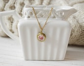 Women's Floral Dainty Locket Charm Necklace - Soft Rose