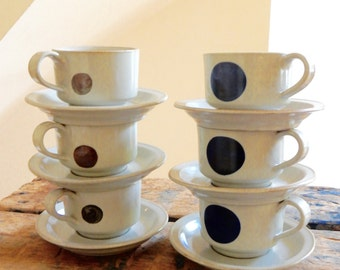 6 Iron Mountain Lookout Mountain Cups & Saucers Stoneware Art Pottery Signed Nancy Patterson Lamb Stunning Abstract Modernist Design