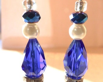 Luscious deep cobalt blue crystal earrings with Rhinestones and pearls