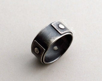 Riveted ring textured silver band 3 rivets oxidized silver ring for men wedding ring mens ring