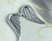 Double Wings pendant, large 34mm Antique silver black patina Angel Wing charm high quality European hypoallergenic Holidays diy TH164 - 1pc