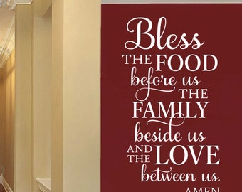 Bless Food Family Love Quote, Vinyl Wall Lettering, Vinyl Lettering, Wall Quotes, Vinyl Letters, Wall Words, Kitchen Decal, Family Quote
