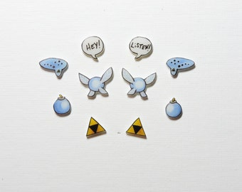 Zelda earrings set of 5, triforce, blue bomb, navi, ocarina, speech bubble