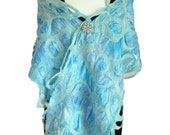 Blue Silk Evening Scarf by Sesenarts - Hand crafted Special Occasion Wrap - Australia