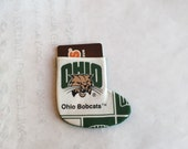 Ohio University Bobcats Fabric Gift Card Holder and Ornament in shape of Stocking