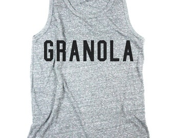 Mens Granola Tank, Granola Tank Top, work out shirt, yoga shirt, Mens Heather Grey Tank Top Shirt - Small, Medium, Large, XL, 2XL