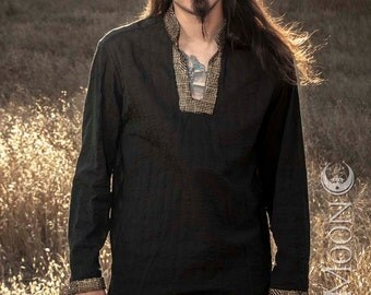 NEW! Men's Long Tunic Top in Black w/ Metallic Gold Tapestry Collar & Cuffs w/ Silver Moons by Opal Moon Designs (Size S-XXL)