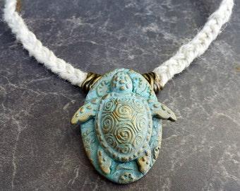 Aloha polymer clay pendant