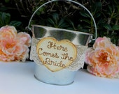 Flower Girl Tin Bucket Pail Here Comes The Bride Rustic Woodland Shabby Chic Burlap & Lace Flower Girl Basket