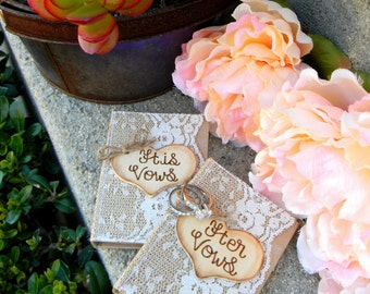 Wedding Vow Books Set of 2 Personalized Wood Heart Rustic Shabby Chic Woodland His Vows Her Vows Small Notebooks