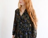 Leaf branch dress, Japanese vintage, xs