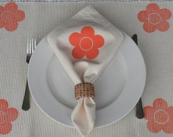 Orange Flowered Cream  Napkins - Set of 4