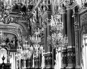 Paris Print, Chandeliers, Opera House, Black and White Paris Photography, Chandelier Wall Art, Paris Wall Decor