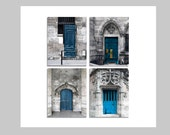 SALE, Blue Door Prints, Vertical, Paris Photography, Set of 4 Prints, Travel Gift, Teal, Gray, Rustic Wall Art, Paris Doors Set