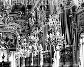 Paris Print, Chandeliers, Opera House, Black and White Paris Photography, Chandelier Wall Art, Paris Wall Decor