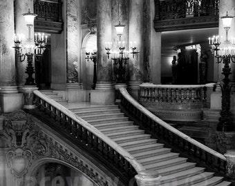 Paris Opera Photo, Grand Staircase, Travel, Black and White Paris Photography, Garnier Opera, Stairs, Paris Print