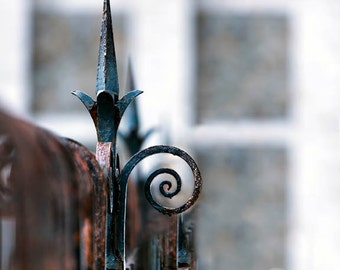 Paris Print, Rustic, Wrought Iron Fence, Black, Brown, Paris Photography, Architecutre, Office Decor