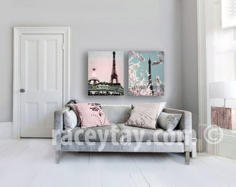 SALE, Pink Paris Canvas, Eiffel Tower Canvas, Large Canvas Art, Pastel Canvas Wall Art, Pink Blue Wall Art Canvas Nursery Canvas Art