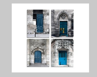 SALE, Blue Door Prints, Paris Photography, Set of 4 Prints, Teal, Gray, Rustic Wall Art, Travel, Paris Doors Set