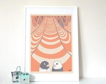 Love Birds, Whimsical Illustration Tangerine