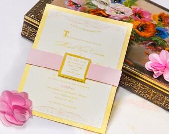 Wedding Invitation - Vintage Jane Austen Storybook Theme - Blush Pink and Gold - Flourished - Deposit