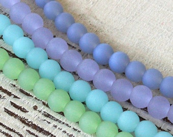 6mm Round Seaglass Beads - Jewelry Making Supply - Frosted Glass Beads - 4 Opaque sea glass Strands
