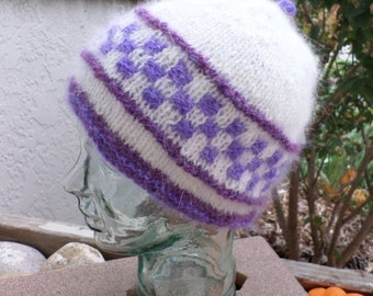 Purple and White Angora Hat