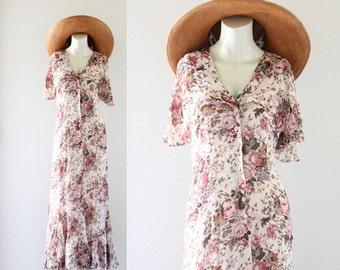 blush floral field dress