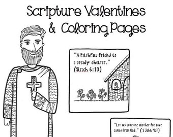 Catholic saints coloring book vol 2 by paperdali on etsy for St valentine coloring pages catholic