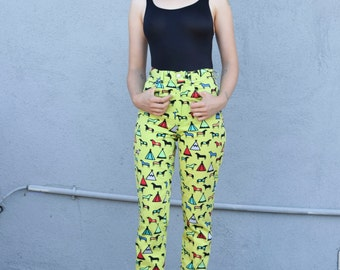 Vintage Versace Jeans Couture 1990's Lime Green High Waisted Tribal Tee Pee Horse Print Cotton Skinny Pants Trousers S 26