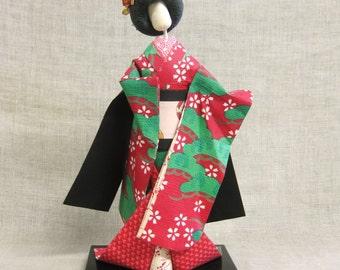 Vintage Geisha Doll, Origami, Souvenir, Japan, Japanese, Folk Art, Female, Kimono, Handmade, Paper Doll, Asian Design, Asian Doll