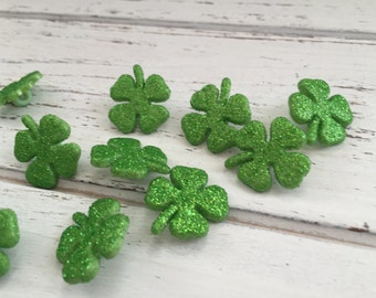 Glittered Shamrock Buttons, Four Leaf Clover Buttons, Packaged Buttons by Buttons Galore, Style 4456, Shank Back Buttons, Crafting, Sewing