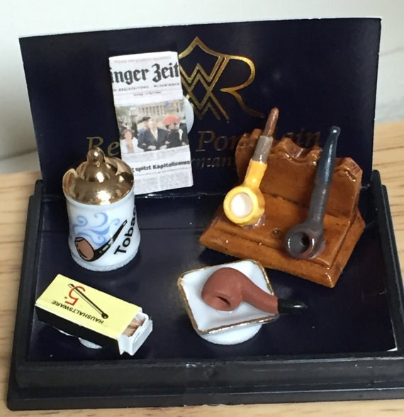 Miniature Pipe and Tobacco Set by Reutter, Dollhouse Miniatures, 1:12 Scale, Made in Germany, Dollhouse Accessories, Decor, Mini Pipe & More