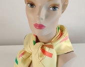 Reserved for Sandra: Vintage 1950s Scarf, Women's Scarf, Yellow, Brown, Pink, Orange, Green, Tan, Black, Atomic, Abstract, Silk, MCM