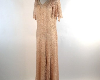 Vintage 1930s Dress, Pale Peach, Sheer Floral Lace, Butterfly Sleeves, Rayon, Silk, Label: E.L. Mayer, V Neck, Lovely Wedding / Evening Gown