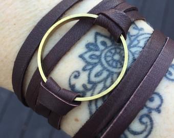 Double Wrap Leather Bracelet -Brass Circle