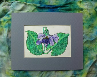 VIOLET - ORIGINAL DRAWING of Beautful Flower 8 by 10 Inch Matted Artwork, Lavender Purple and Green, Colored Pencil and Ink Flower, Flowers