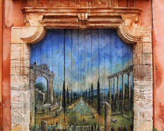Fine Art Photography, old painted wooden door, Roussillon, France, 8x10, photograph, photo, wood door