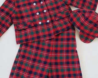 1950s 1960s Vintage Toddler Boys Outfit - Christmas Winter Plaid Suit - 3 Piece Outfit Jacket Overalls Hat Snowsuit