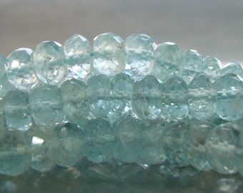 Beautiful Icy Blue Translucent Aquamarine Micro Faceted Rondelle, 1/4 Strand, 5-5.5 mm, Very Cool Looking