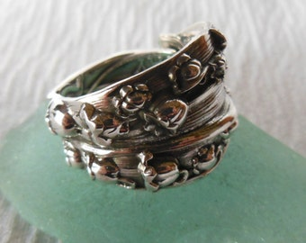 Lily Of The Valley Spoon Ring  Antique Sterling Silver  Size 8.75