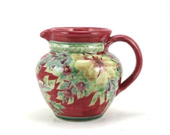 Red Ceramic Pitcher - Traditional Porcelain Floral Handmade Water Pitcher or Ceramic Creamer or Bud Vase with Flower Design
