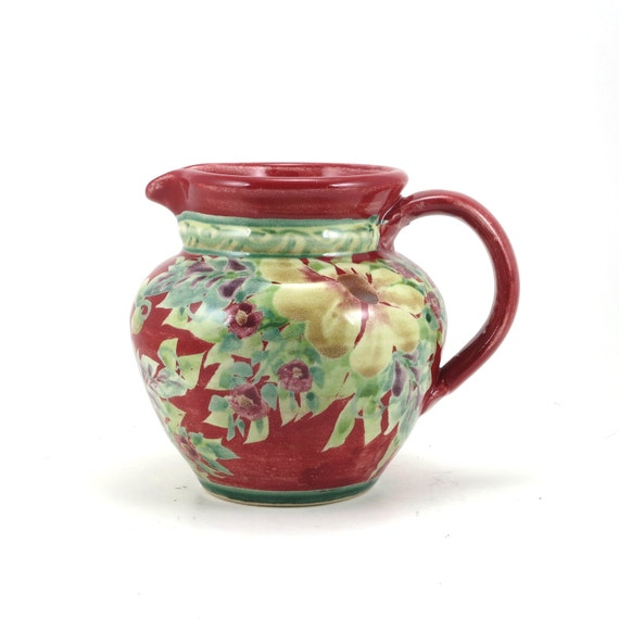 Red Ceramic Pitcher Traditional Porcelain Floral Handmade