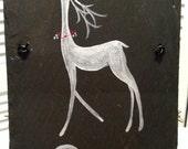 White Pearl Reindeer~ Love ~ Handpainted acrylic on Buckingham VA slate - roof tile